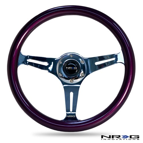 NRG Innovations ST-015CH-PP Classic Wood Grain Wheel (350mm 3 chrome spokes, purple pearl/flake paint) (Nrg Steering Wheels Purple compare prices)