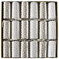 Entertaining with Caspari Celebration Crackers, Silver and White Small Dots, 12-1/2-Inch, Box of 6