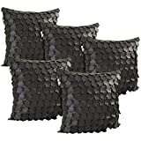 Idrape Rexin 5 Piece Cushion Cover Set- Black, 40 Cm X 40 Cm - B013UD8ZIM