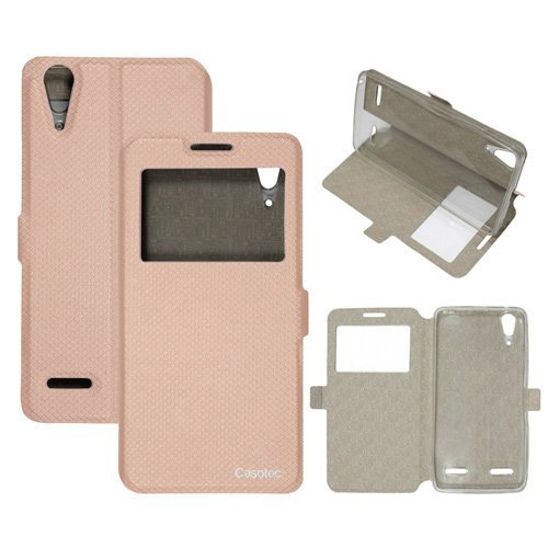 Casotec Premium Kickstand Caller-id Flip Case Cover with Snap Button Closure for Lenovo A6000 / A6000 Plus - Gold  available at amazon for Rs.175