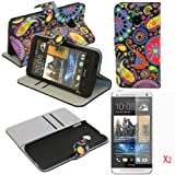 (TRAIT)3in1 Magic Pattern PU Leather Wallet Cases Protective Skin Protector Covers for HTC One M7 Flip Case Folio Cover Stand Holder with Card Port+2*Screen Protector
