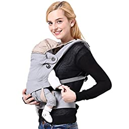 Sago Brothers Baby Carrier Baby Backpack 360 Degree Breathable Mesh Suitable for Children under Age 4 - Grey