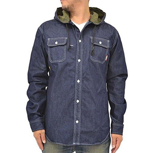 (ネスタブランド) NESTA BRAND メンズ シャツ 大きいサイズ 長袖 パーカー デニム 秋 冬 1color LL ネイビー