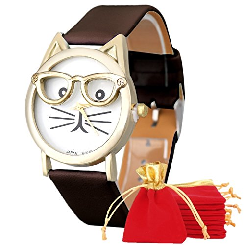 NdB 1290 - [GATTO MARRONE] Orologio Donna da Polso - Con cinturino regolabile a 6 fori - Quarzo - In Sacchetto vellutato Rosso e Oro - Regalo perfetto