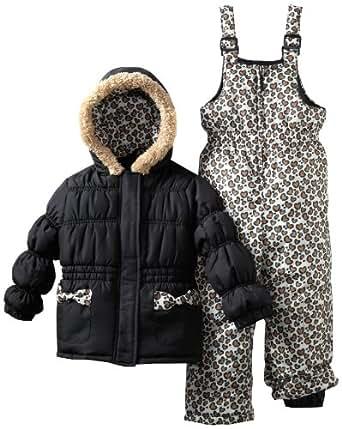 Pink Platinum Little Girls'  Leopard Snowsuit, Black, 5/6