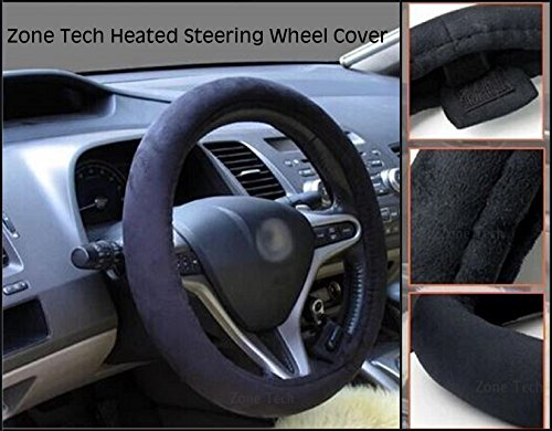 zone tech car steering wheel 12v heated cover classic black premium quality ultra comfortable. Black Bedroom Furniture Sets. Home Design Ideas