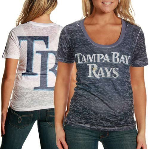 Rays Navy Blue-White Superfan Sublimated Sheer Burnout T-Shirt