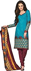 Tripssy Women's Cotton Printed Unstitched Salwar Suit (tr_dm_14, Pink)