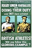 Vintage Poster Shop First World War British Athletes Rugby Players Recruitment Poster A2 Reprint