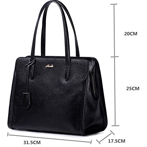 Nucelle® Women's Top Shoulder Handle Bag Genuine Leather Fashion Designer Office Lady Handbag Tote nucelle brand design rivets genuine cow leather women ladies shoulder crossbody bag black handbag wings bag gift for girls