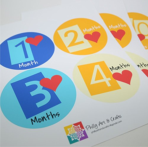 Baby Stickers - Baby Month Stickers - Colorful Baby Monthly Stickers - Baby Shower Gift