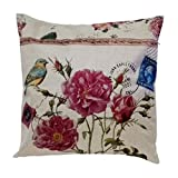 Weimei Square Decorative Throw Pillow Case Cushion Cover Throw Pillows Bird and Pretty Pink Blossoms 18in X 18in One Side Printed