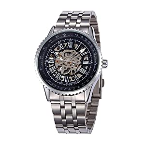 GBI Men's Military Stainless Steel Band Automatic Mechanical Wrist Watches-Black & White