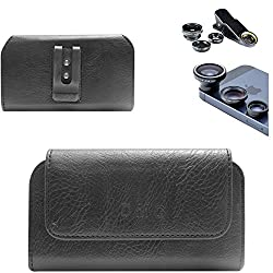 DMG Premium PU Leather Cell Phone Pouch Carrying Case with Belt Clip Holster for Micromax CANVAS Unite 2 A106 (Black) + 3in1 Fisheye Wide Angle and Macro Lens