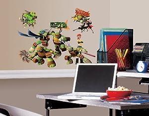 RoomMates 539018 - Adhesivos decorativos para pared (vinilo, reutilizables), diseño de Tortugas Ninjas - BebeHogar.com