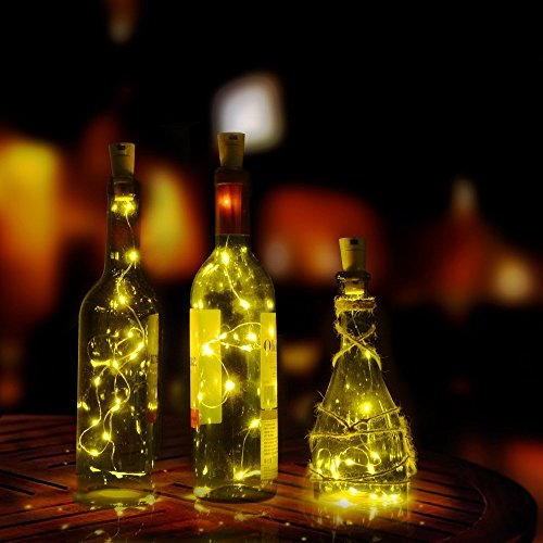 JOJOO Set of 6 Warm White Wine Bottle Cork Lights - 32inch/ 80cm 15 LED Copper Wire Lights String Starry LED Lights for Bottle DIY, Party, Decor, Christmas, Halloween, Wedding or Mood Lights LT015*6