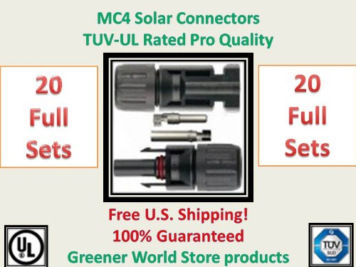 Mc4 Solar Connectors For Photovoltaic Solar Panels Mc4 Solar Connector In 20 Pack.