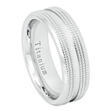 buy 7Mm Titanium White Ip With Shiny Grove Center And Double Milgrain Sides Wedding Band Ring For Men Or Ladies
