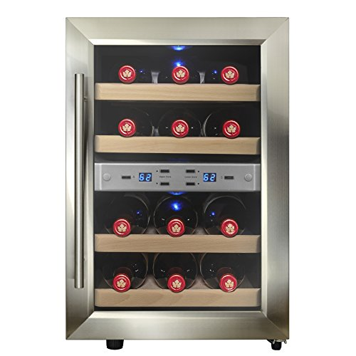 Firebird 12 Bottles Dual Zone Reversible Doors Stainless Steel Finish Wooden Shelves Freestanding Electric Wine Cooler Cellar (Wine Cellar Door compare prices)