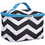 World Traveler Blue Black Chevron Cosmetic Make Up Case Bag