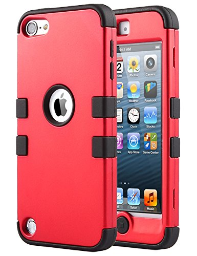 iPod Touch 6 Case,iPod 6 Cases,6th Case,ULAK [Colorful Series] 3-Piece Style Hybrid Silicon Hard Case Cover for Apple iPod Touch 5 6th Generation_2015 Realeased (Red/Black) (Colorful Ipod Touch Cases compare prices)
