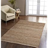 Madras Leather Hemp Rug Natural