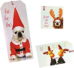 Bulldog Holiday Gift Tag Labels with Light Iridescence and Red and White Striped Ties 18 Count 3 Des