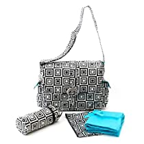 Kalencom Coated Buckle Bag, Black and White Calypso