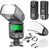 Neewer® PRO NW670 E-TTL Photo Flash Kit for CANON Rebel T5i T4i T3i T3 T2i T1i XSi XTi SL1, EOS 700D 650D 600D 1100D 550D 500D 450D 400D 100D 300D 60D 70D DSLR Cameras, Canon EOS M Compact Cameras - Includes: Neewer Auto-Focus Flash with LCD Screen + 2.4 GHz Wireless Trigger + 2 Cables(C1-Cord + C3-Cord Cables) + Hard & Soft Flash Diffuser + Lens Cap Holder