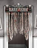 Blutiger Fetzenvorhang Halloween Deko weiss rot