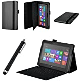 onWay Premium Folio Case Cover with Stand for Microsoft Surface RT 1st/ Surface 2, + Gift: stylus touch pen x1 (Does not fit Windows 8 PRO Version) (Black)
