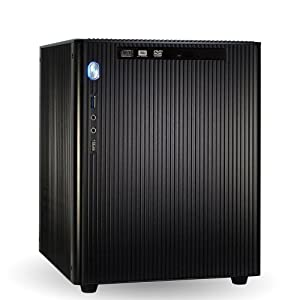 "computerwerk - Gamer Mini Cube PC Fairfield D - 4x 3.2 GHz Intel Core i5-4460, MSI H81M-E34, 8 GB [1x 8GB] DDR3-1600 Crucial, 1,0 TB (3,5"", S-ATA III, 7200U/min), DVD-RW Slimline , 1024 MB GeForce GTX750, E-M5 Aluminium schwarz, Silent Super Power 650 W"