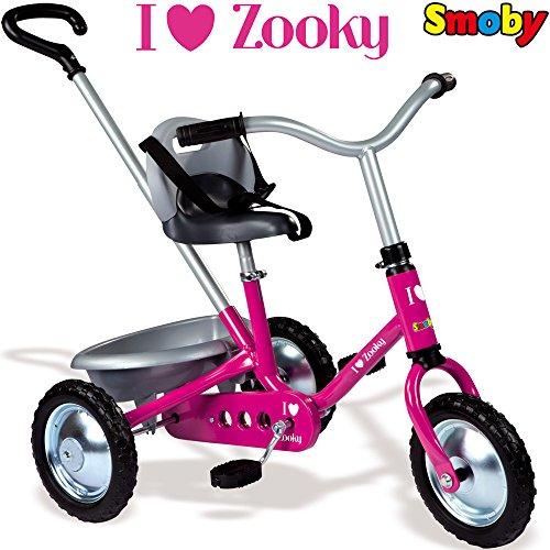 Metall Dreirad Zooky Rosa mit Kettenantriebe und höhenverstellbarer Sitz || Ketten Dreirad Trike Rosa Kinder Dreirad Schubstange Schiebestange Pink