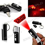 BLACK MINI LCD KEYRING PROJECTION LED LIGHT TIME CLOCK PORTABLE PROJECTOR POCKET GIFT