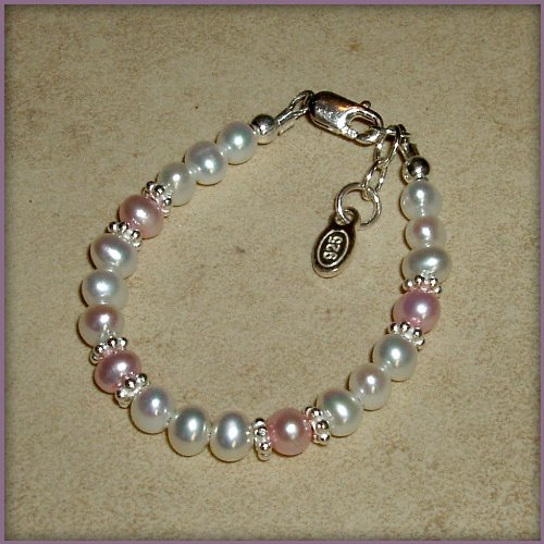 Addie Sterling Silver Childrens Girls Infant Bracelet Jewelry NEW! Gorgeous freshwater pearl bracelet with beautiful white and pink pearls accented with sparkling silver daisies. This is a timeless keepsake! Size Small Baby 0-12 Months.