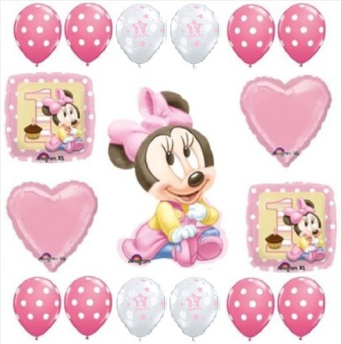 MINNIE-MOUSE-1st-1-Pink-Polka-Dots-BIRTHDAY-Girl-PARTY-17-Balloon-Kit-SET