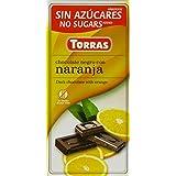 Torras No Added Sugar Dark Orange Chocolate Bar 75 g (Pack of 5)
