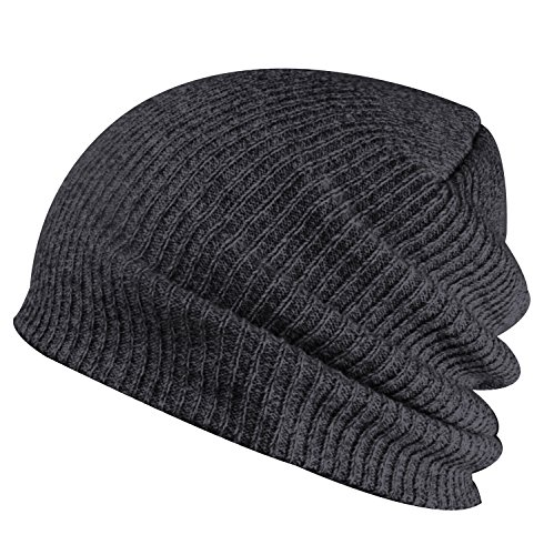 Paladoo Slouchy Winter Hats Knitted Beanie Caps Soft Warm Ski Hat Dark Grey