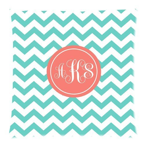 Butuku Personalized Turquoise Chevron Monogram Cursive Initials Throw Cushion Case Pillow Case Cover One Side - Size 18X18 Inch front-645892