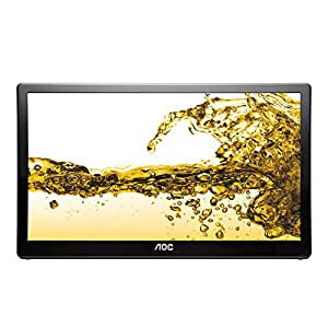 AOC E1659FWU 15.6-Inch Widescreen LED Monitor - Glossy Black (1366 x 768 Pixel, 8ms, USB, Kensington Security-Lock)