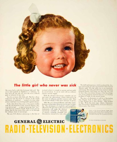 1943 Ad General Electric Ge Child Television Electronics Electron Microscope - Original Print Ad
