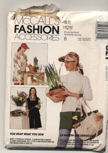 Aprons, Smock, Garden Tote & Hat - Misses Size 8 Thru 22 - Mccalls Fashion Accessories Pattern - You Reap What You Sew Pattern 6495 front-889250
