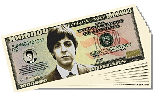 Beatles Paul McCartney Novelty Million Dollar Bill - 10 Count with Bonus Clear Protector & Christopher Columbus Bill