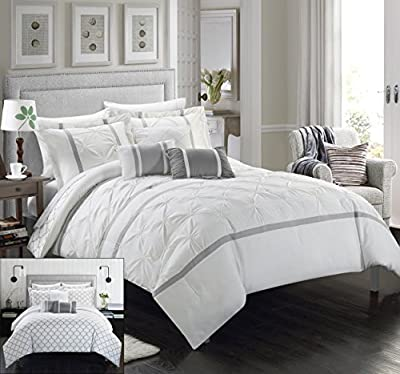 Chic Home 10 Piece Dorothy Pinch Pleated Ruffled and Reversible Geometric Design Printed Bed In a Bag Comforter Set with Sheet Set