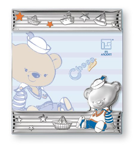 Silver Touch USA Sterling Silver Choco Bear Picture Frame, Blue