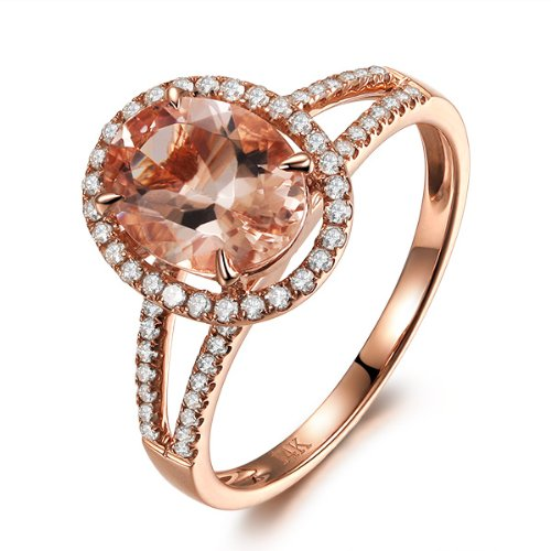 Claw Prongs Solid 14K Rose Gold Oval Cut 7x9mm Morganite (Fancy PinkVS) Halo 0.35ctw Pave Diamonds (H-SI) Split...