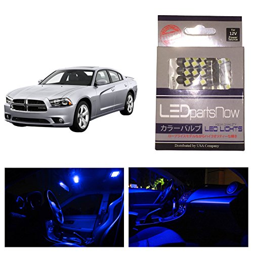 Ledpartsnow Dodge Charger 2011 & Up Blue Premium Led Interior Lights Package Kit (6 Pieces)