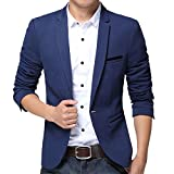 Pishon Mens Slim Fit Suits Casual One Button Flap Pockets Solid Blazer Jacket