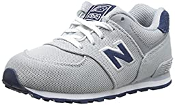 New Balance KL574 Lace Up Running Shoe (Infant/Toddler), Grey/Navy, 2 W US Infant