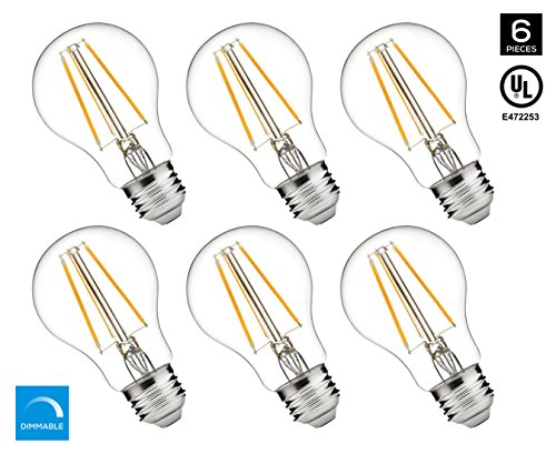 Hyperikon A19 LED Vintage Filament Bulb, Dimmable, 5W (40W Equivalent), 520 lumen, 3000K (Soft White Glow), Omnidirectional, E26 Base, IC Driver, CRI 80+, 120v, UL-Listed - (Pack of 6) (Filament Bulb 25w compare prices)